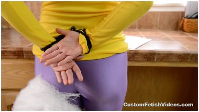 Tickling custom video - Feather duster tickles Maggie Green's Spandex ass