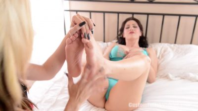 Kym is in ecstasy with her feet tickled