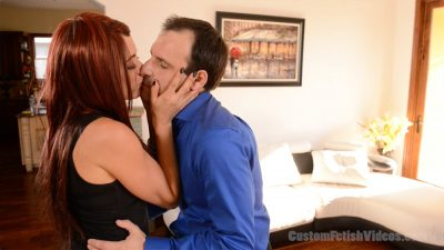 Femdom Raven Rae busts some balls and forces her date to cum and eat it