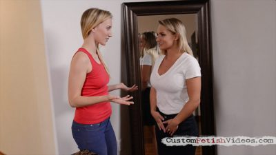 Riley Reyes flirts with Cali Carter while she takes her measurements
