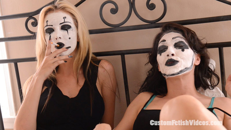 Smoking Fetish Custom - Kymberly Jane and Jeanie Marie smoke cigarettes and paint their faces like mimes