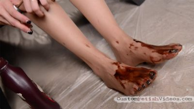 Wet and messy chocolate stockings - WAM foot fetish video