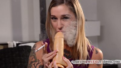 Smoking fetish video - Kleio Valentien smokes Marlboro 100s and plays with a dildo