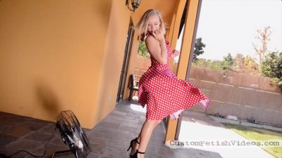 Bailey Brooke upskirt panties - Bailey finds a fan and plays with her dress