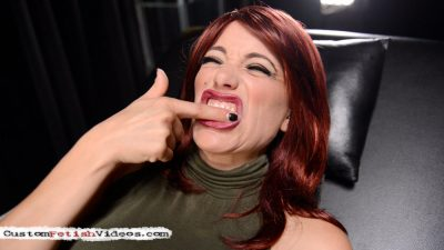 Mouth fetish - Raven Rae's huge mouth is wide open because she's showing you her tooth that she's worried about and she doesn't want to go to the dentist