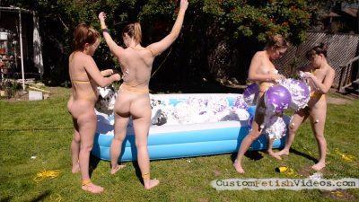 Wet and Messy Balloon Fetish - Mona Wales, Ella Nova, Sasha Heart, Juliette March pop messy balloons on their bodies