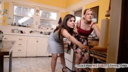 Wet and messy scene - Sasha Heart and Juliette March slide around in heels on a buttery floor