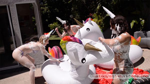 Inflatable unicorns take a stabbing at the end of the massacre