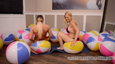 Cali Carter Inflatable Fetish - Cali and Sarah Vandella sit pop beach balls