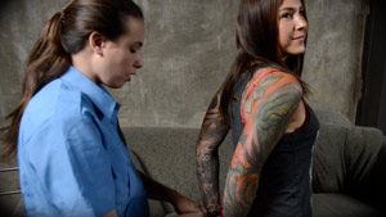 Casey Calvert, Felicity Feline in tight handcuffs